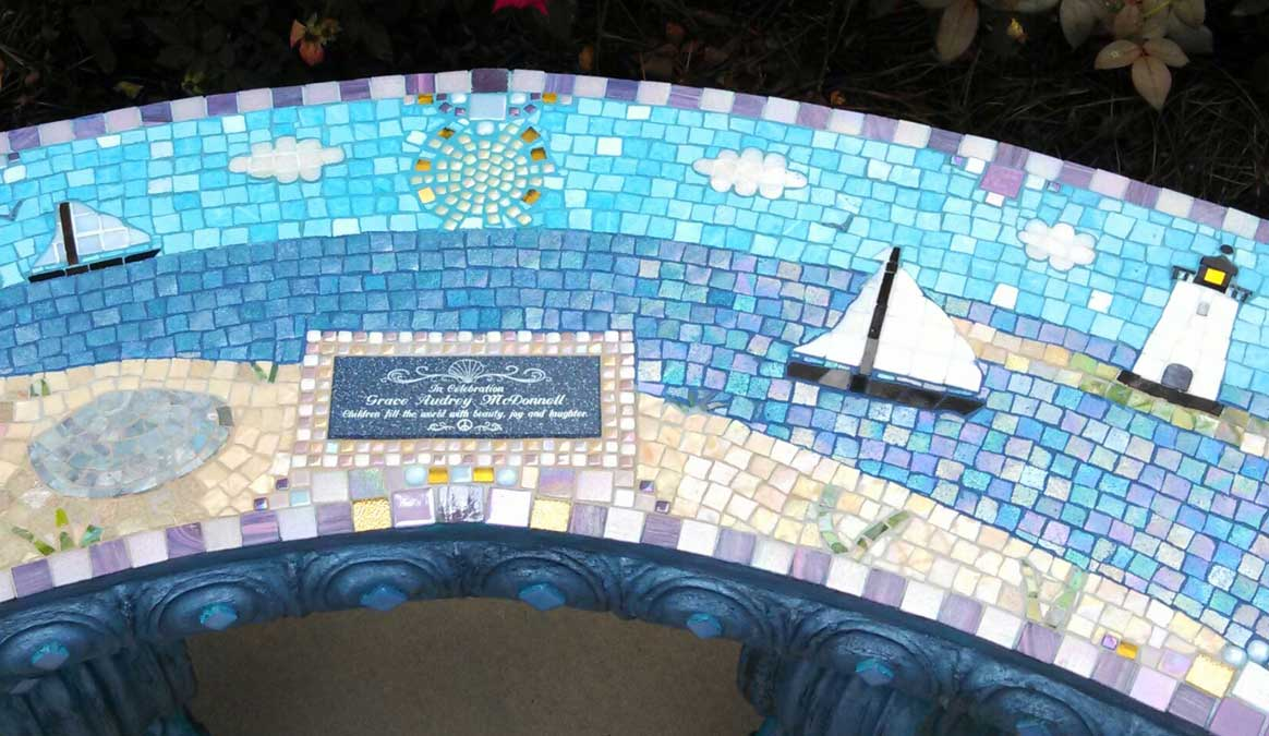Mosaic Memorial Garden Bench of Grace's Lighthouse Closeup by Water's End Studio Artist Linda Solby