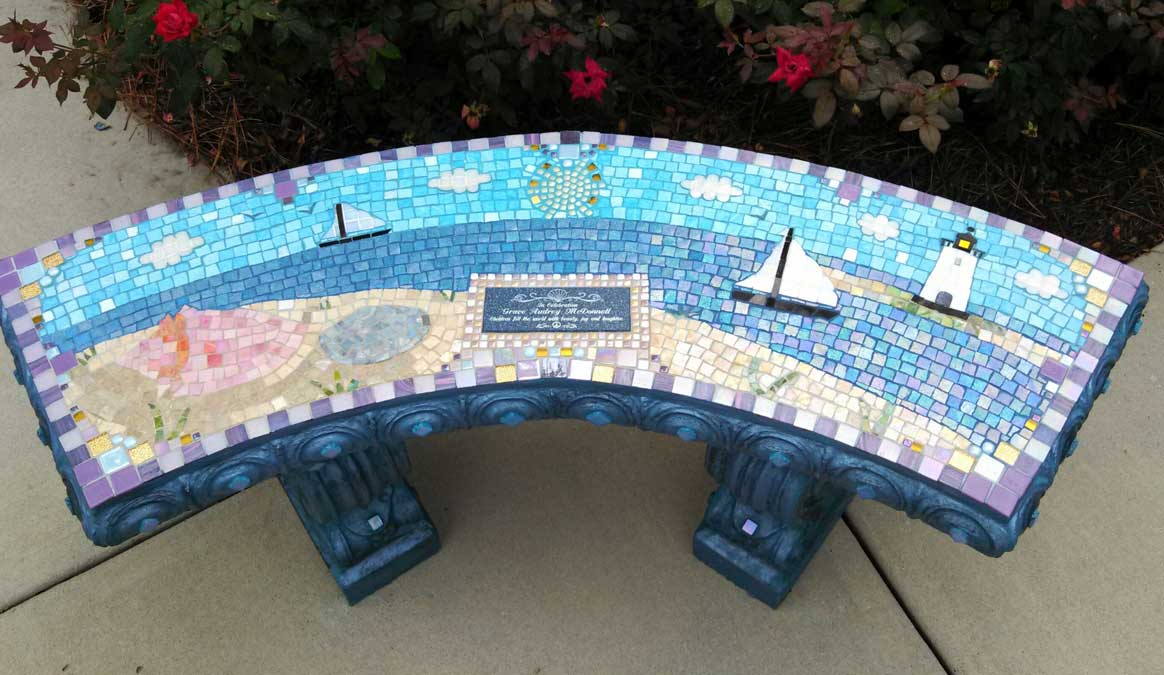 Mosaic Memorial Garden Bench of Grace's Lighthouse by Water's End Studio Artist Linda Solby