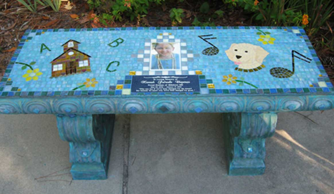 Mosaic Memorial Garden Bench with Portrait Tiles of Hannah's School, Dog and Music Symbols by Water's End Studio Artist Linda Solby
