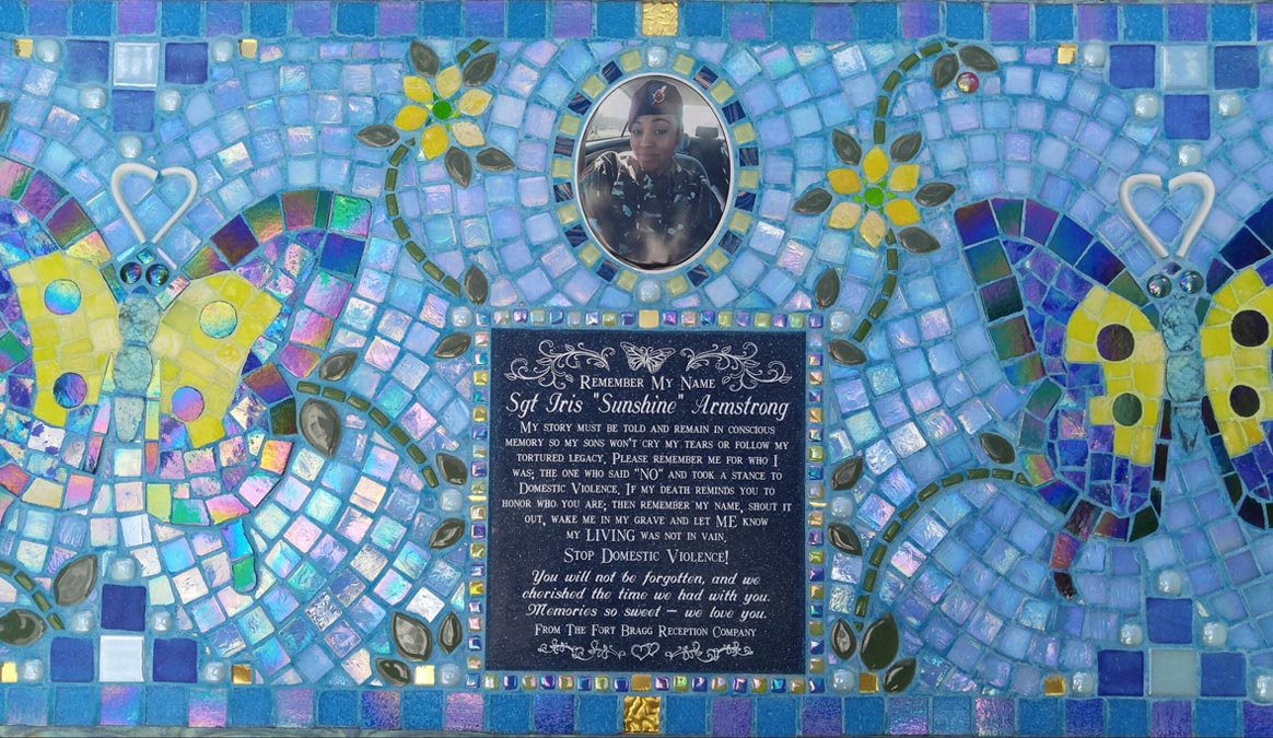 Mosaic Memorial Garden Bench with Portrait Tiles of Iris's Blue Butterflies, Sunshine Flowers, and Dragonflies Closeup by Water's End Studio Artist Linda Solby