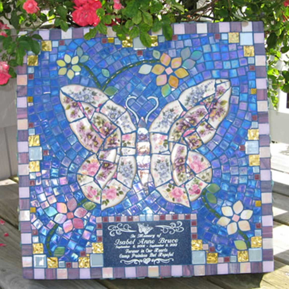Mosaic Memorial Garden Art Stone of Isabel's Pink and Purple Butterfly by Water's End Studio Artist Linda Solby