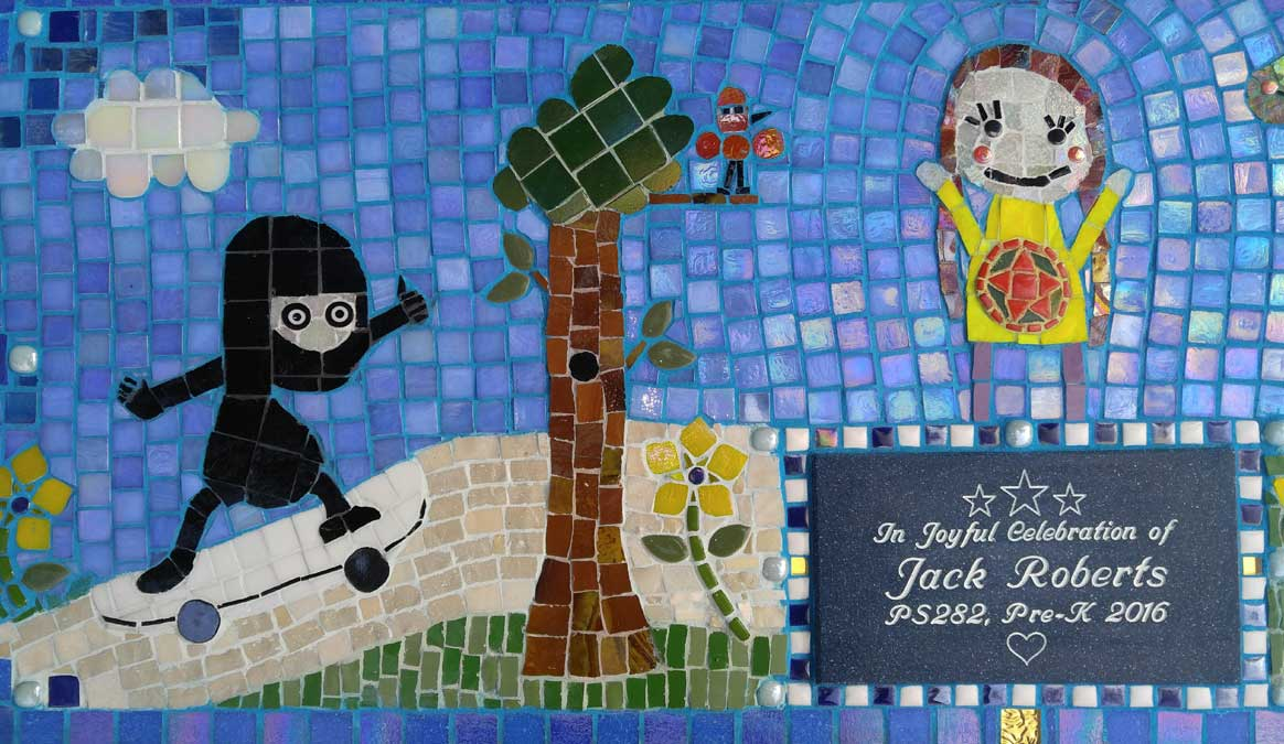Mosaic Memorial Garden Bench of Jack's Memorial Closeup by Water's End Studio Artist Linda Solby