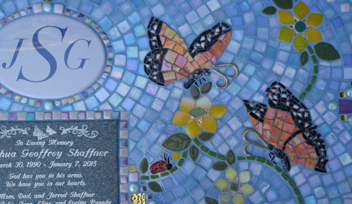 Mosaic Memorial Garden Bench of Josh's Butterflies Closeup by Water's End Studio Artist Linda Solby
