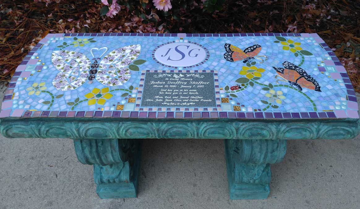 Mosaic Memorial Garden Bench of Josh's Butterflies by Water's End Studio Artist Linda Solby