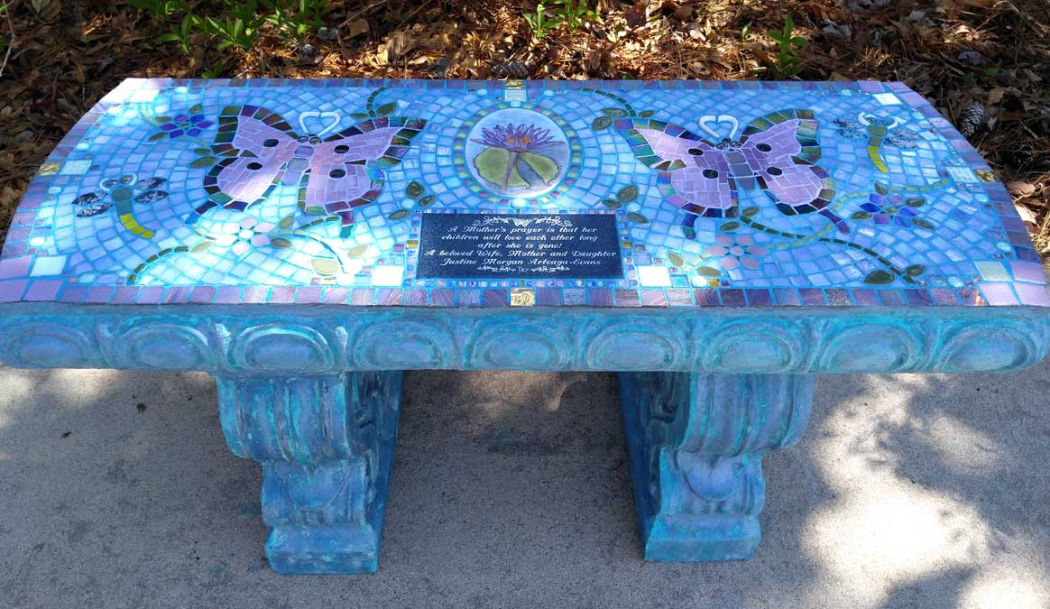 Mosaic Memorial Garden Bench of Justine's Lotus Flower with Butterflies and Dragonflies by Water's End Studio Artist Linda Solby