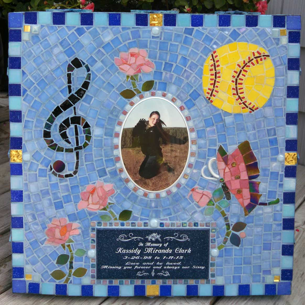Mosaic Memorial Garden Art Stone of Kassidy's Favorite Things by Water's End Studio Artist Linda Solby
