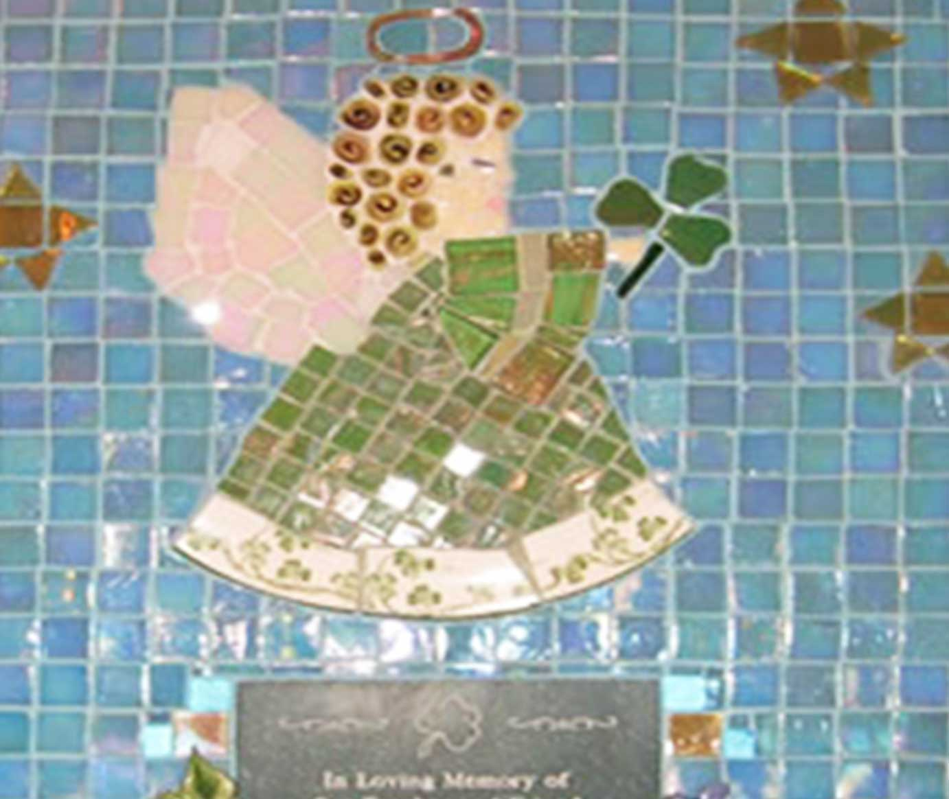 Mosaic Memorial Picture Plaque of Kate's Angel Closeup by Water's End Studio Artist Linda Solby