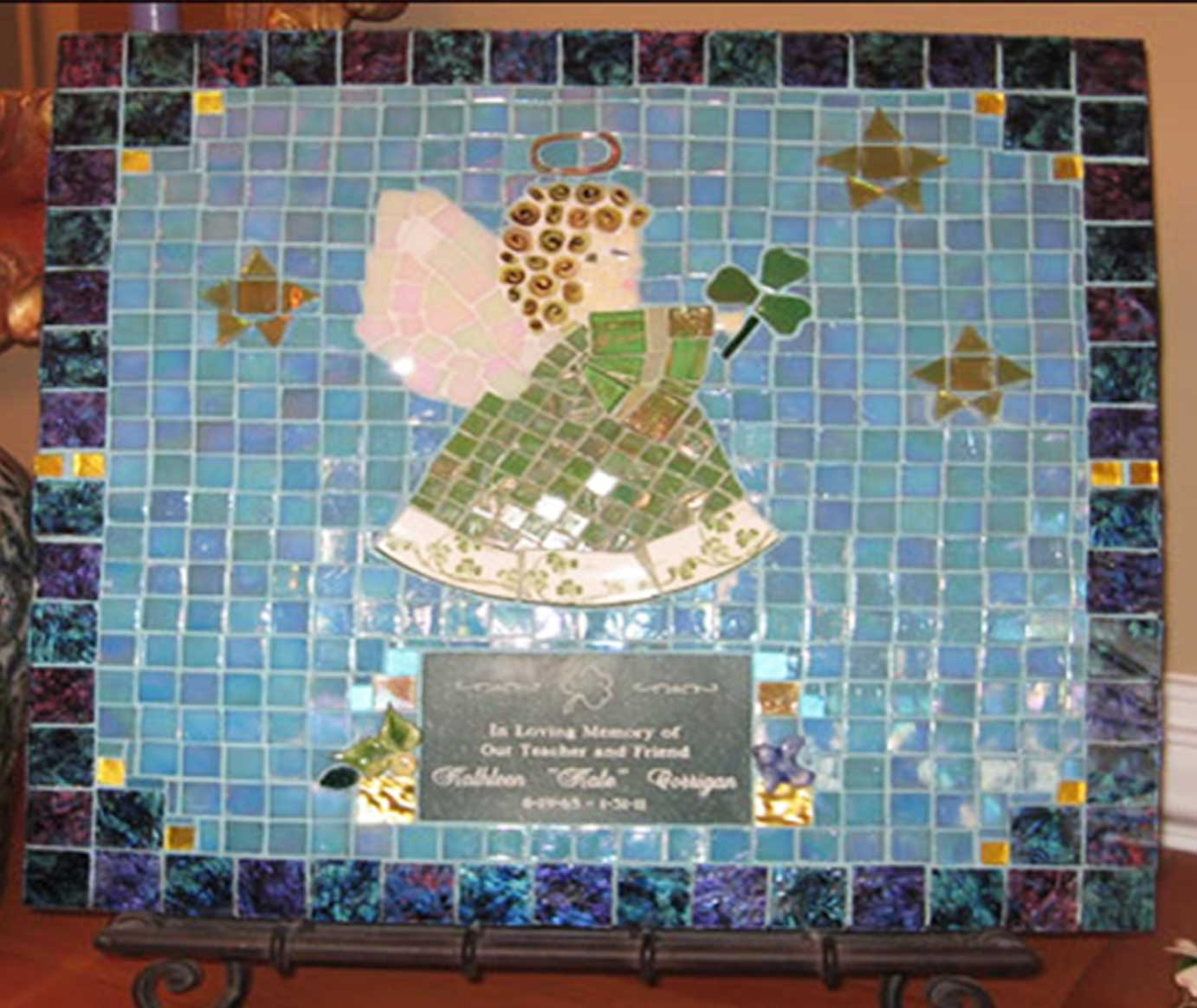 Mosaic Memorial Picture Plaque of Kate's Angel by Water's End Studio Artist Linda Solby