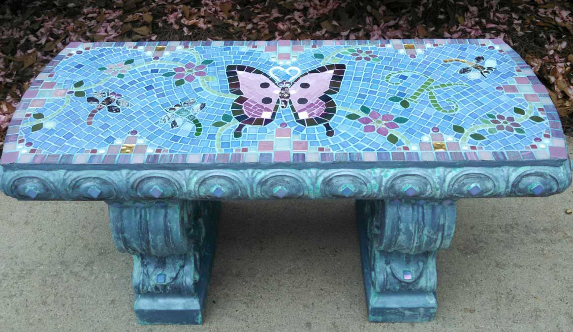 Mosaic Memorial Garden Bench of Kathryn's Purple Butterfly by Water's End Studio Artist Linda Solby