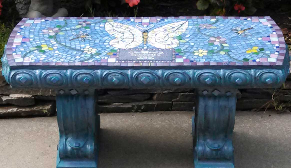 Mosaic Memorial Garden Bench of Kelly's Butterfly by Water's End Studio Artist Linda Solby