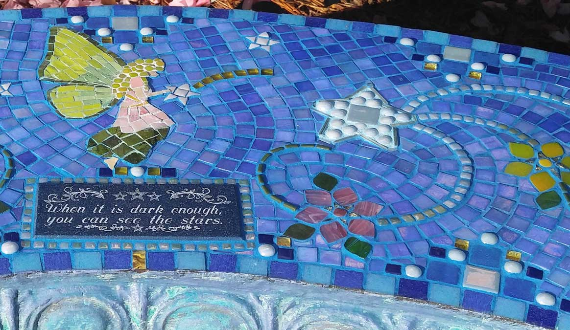 Mosaic Memorial Garden Bench of Kelly's Stars and Fairy Closeup by Water's End Studio Artist Linda Solby