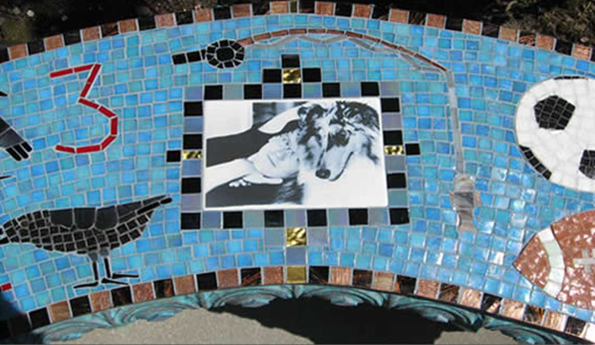 Mosaic Memorial Garden Bench with Portrait Tiles of Kyle's Birds and Sports Closeup by Water's End Studio Artist Linda Solby