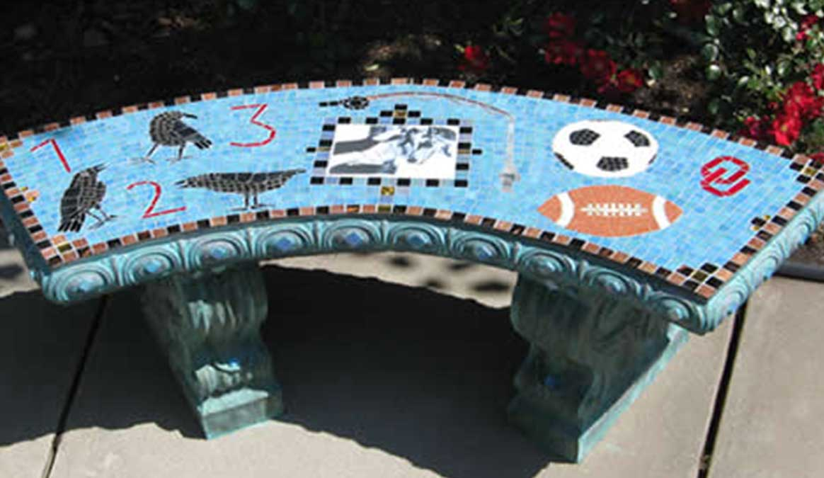 Mosaic Memorial Garden Bench with Portrait Tiles of Kyle's Birds and Sports by Water's End Studio Artist Linda Solby