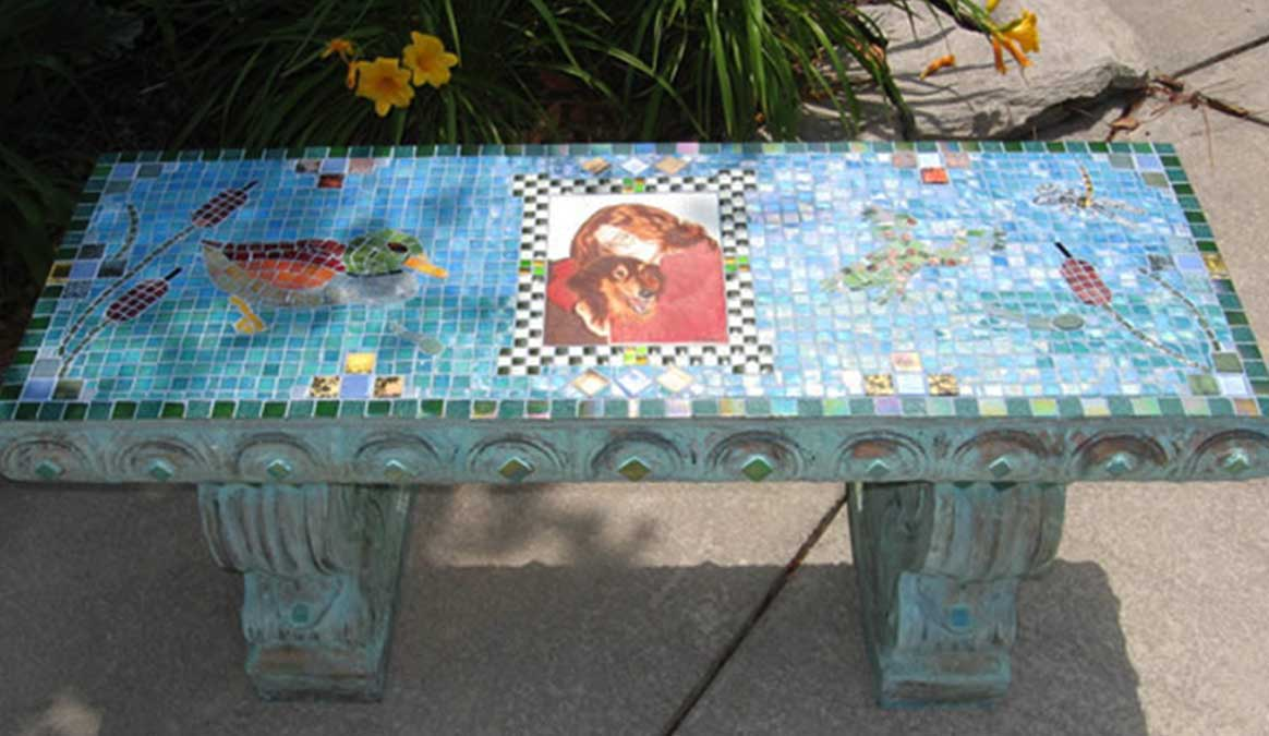 Mosaic Memorial Garden Bench with Portrait Tiles of Kyle's Lake with Duck and Frog by Water's End Studio Artist Linda Solby
