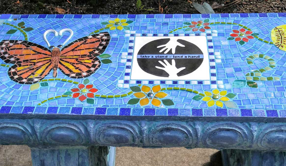 Mosaic Memorial Garden Bench of Larissa's Monarch Butterfly Closeup by Water's End Studio Artist Linda Solby