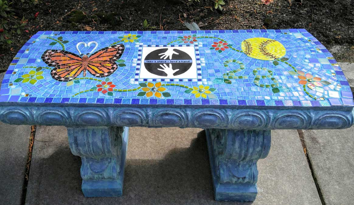 Mosaic Memorial Garden Bench of Larissa's Monarch Butterfly by Water's End Studio Artist Linda Solby