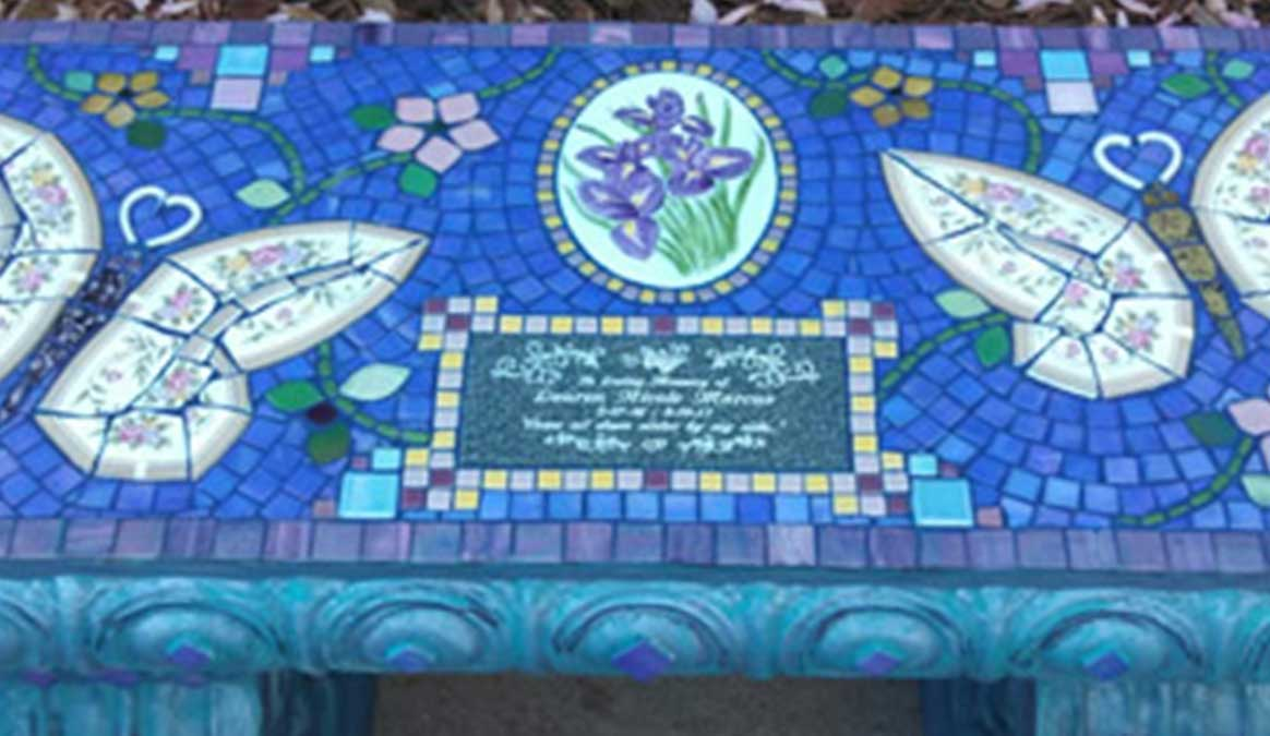 Mosaic Memorial Garden Bench of Lauren's Butterflies Closeup by Water's End Studio Artist Linda Solby