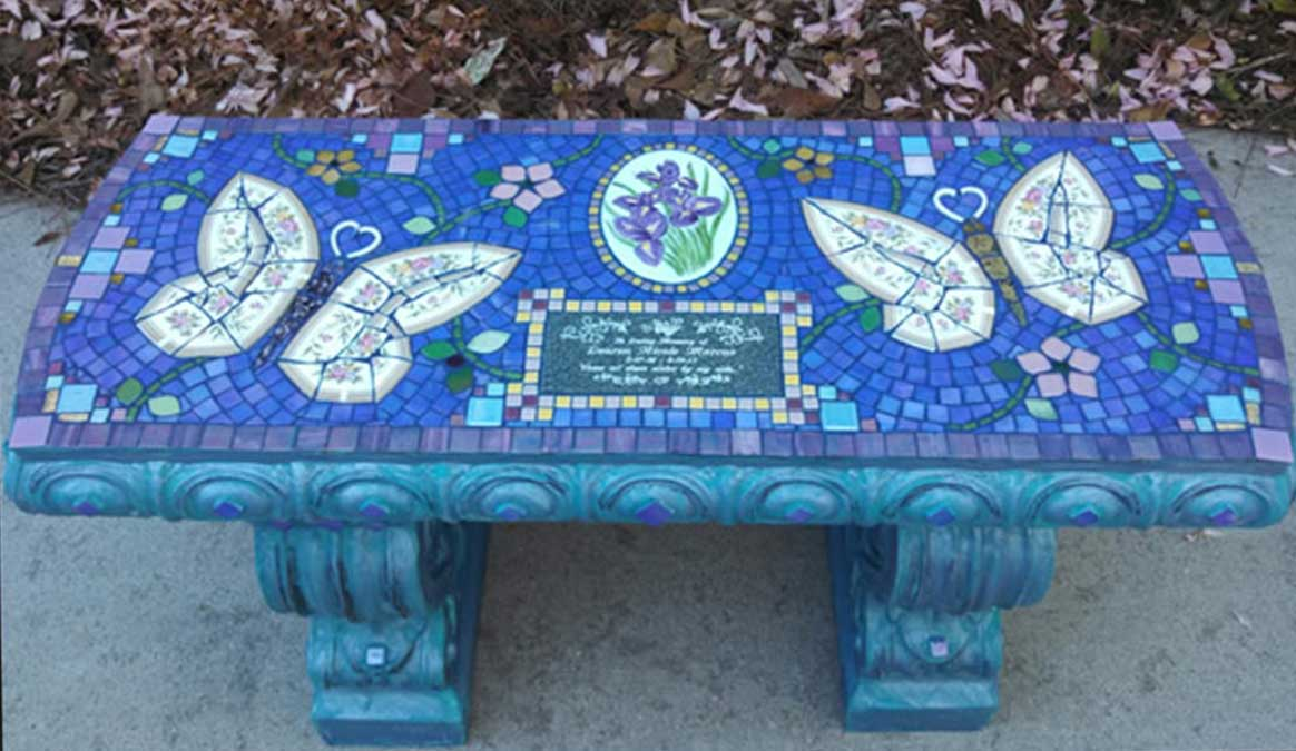 Mosaic Memorial Garden Bench of Lauren's Butterflies by Water's End Studio Artist Linda Solby