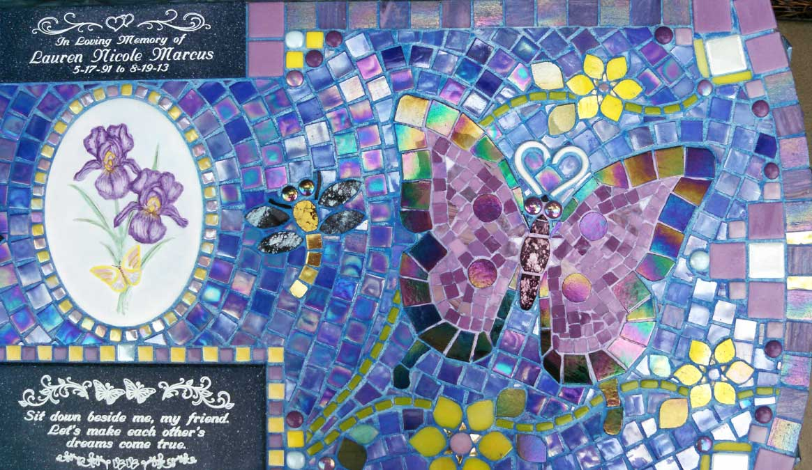 Mosaic Memorial Garden Bench of Lauren's Purple Butterflies Closeup by Water's End Studio Artist Linda Solby
