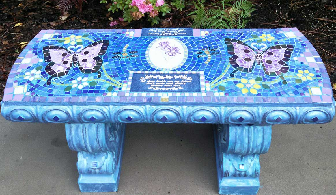 Mosaic Memorial Garden Bench of Lauren's Purple Butterflies by Water's End Studio Artist Linda Solby