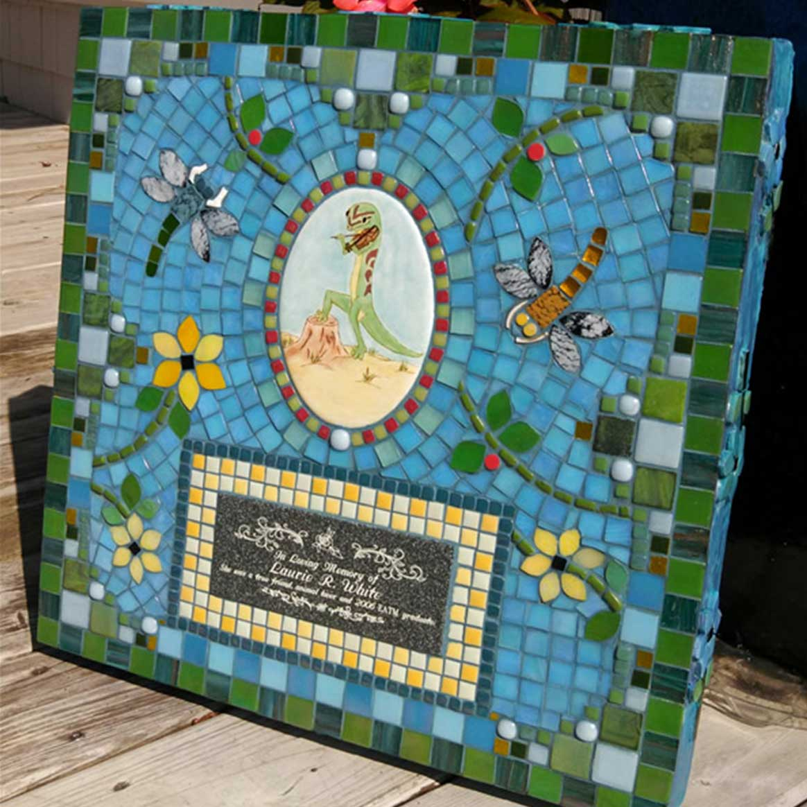 Mosaic Memorial Garden Art Stone of Laurie's Lizard by Water's End Studio Artist Linda Solby