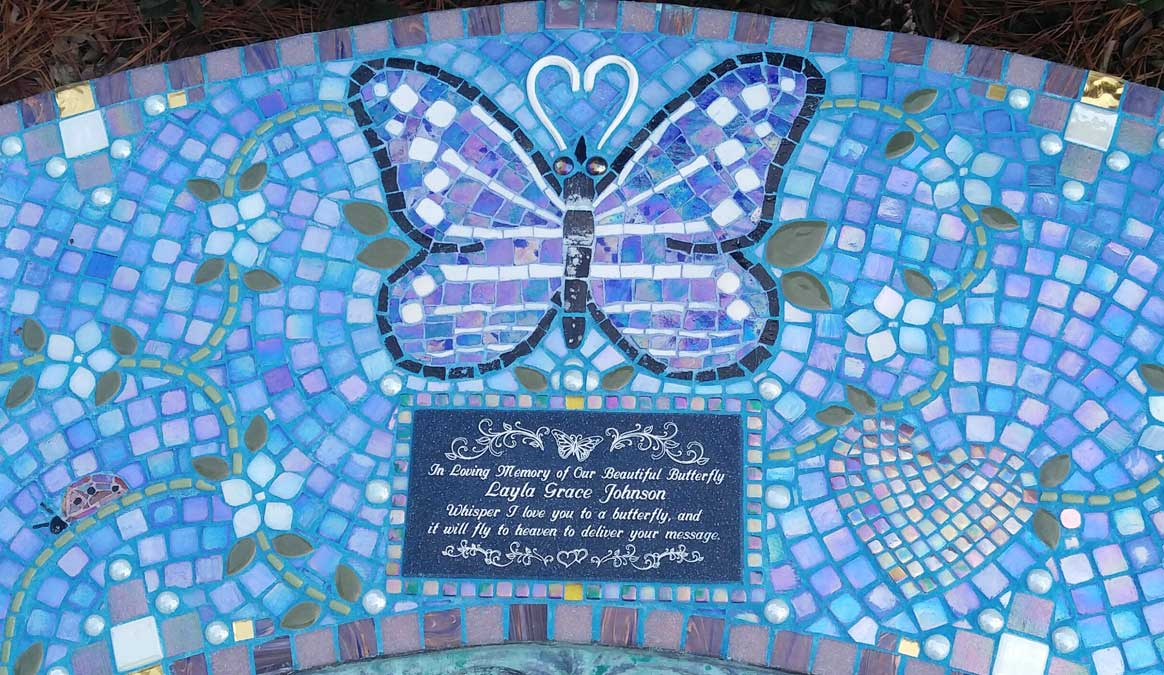 Mosaic Memorial Garden Bench of Layla's Butterfly and White Flowers Closeup by Water's End Studio Artist Linda Solby