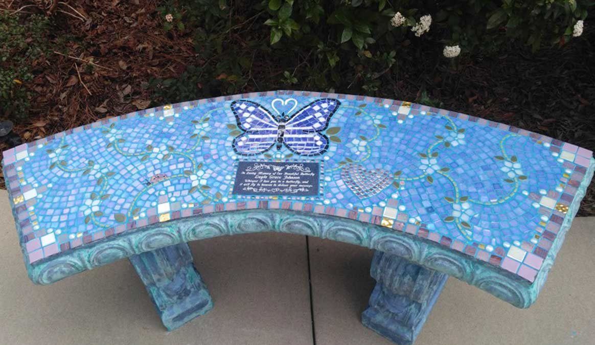 Mosaic Memorial Garden Bench of Layla's Butterfly and White Flowers by Water's End Studio Artist Linda Solby