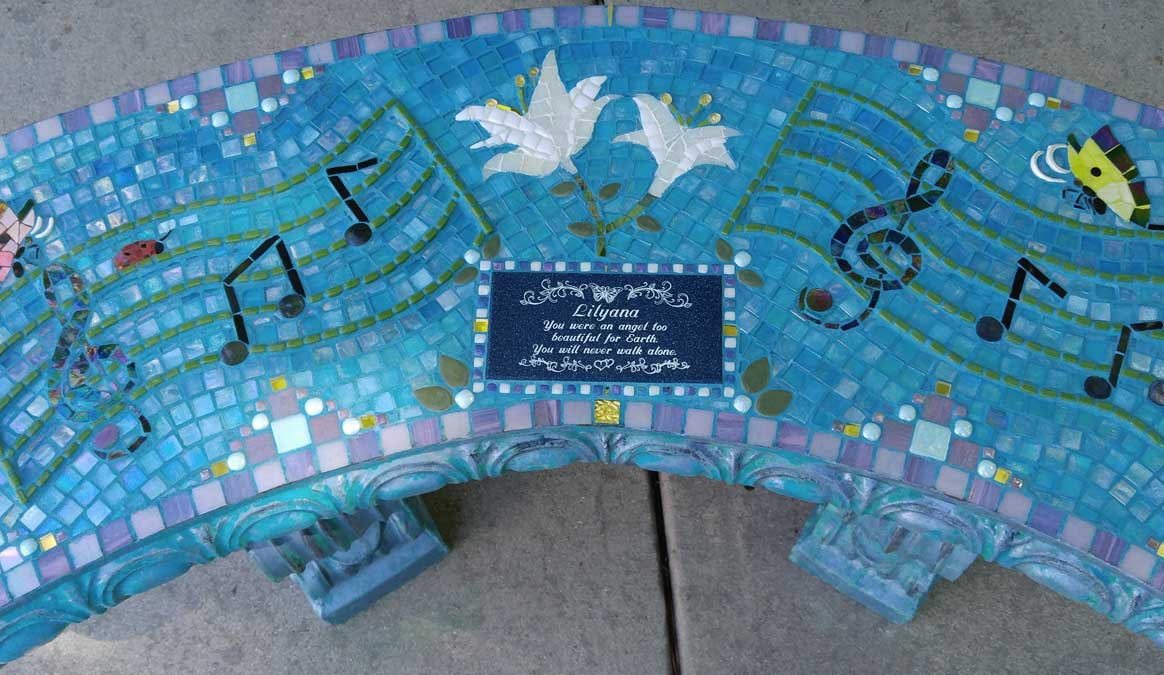 Mosaic Memorial Garden Bench of Lilyana's Musical Closeup by Water's End Studio Artist Linda Solby