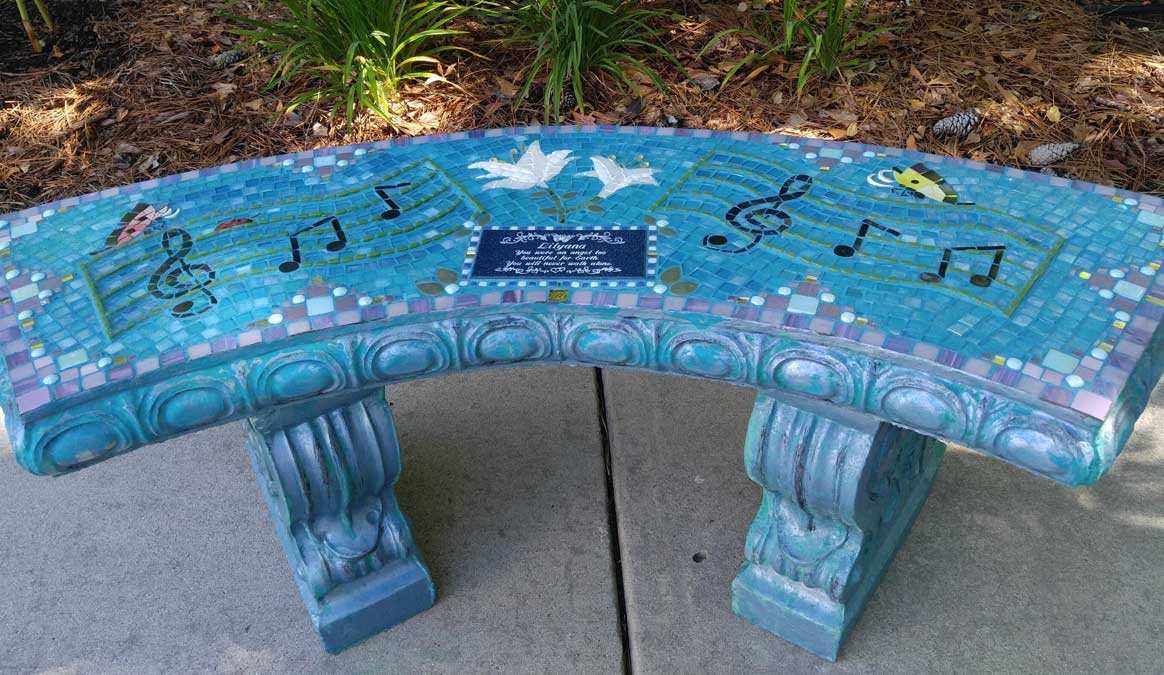 Mosaic Memorial Garden Bench of Lilyana's Musical by Water's End Studio Artist Linda Solby