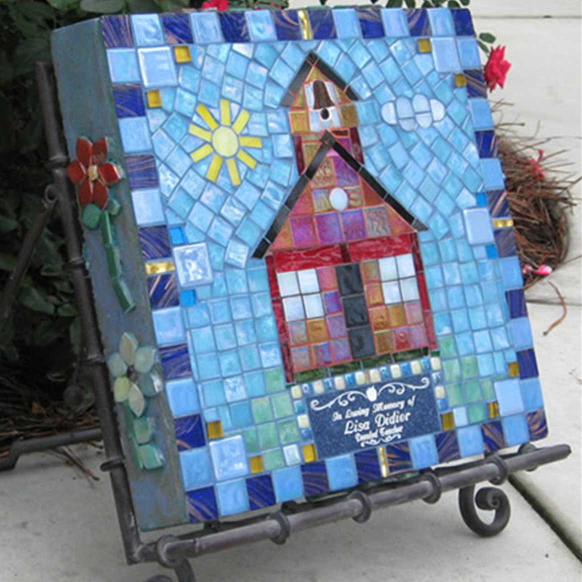 Mosaic Memorial Garden Art Stone of Lisa's Schoolhouse by Water's End Studio Artist Linda Solby