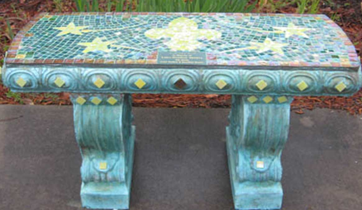 Mosaic Memorial Garden Bench of Luke's Stars and Fleur De Lis by Water's End Studio Artist Linda Solby