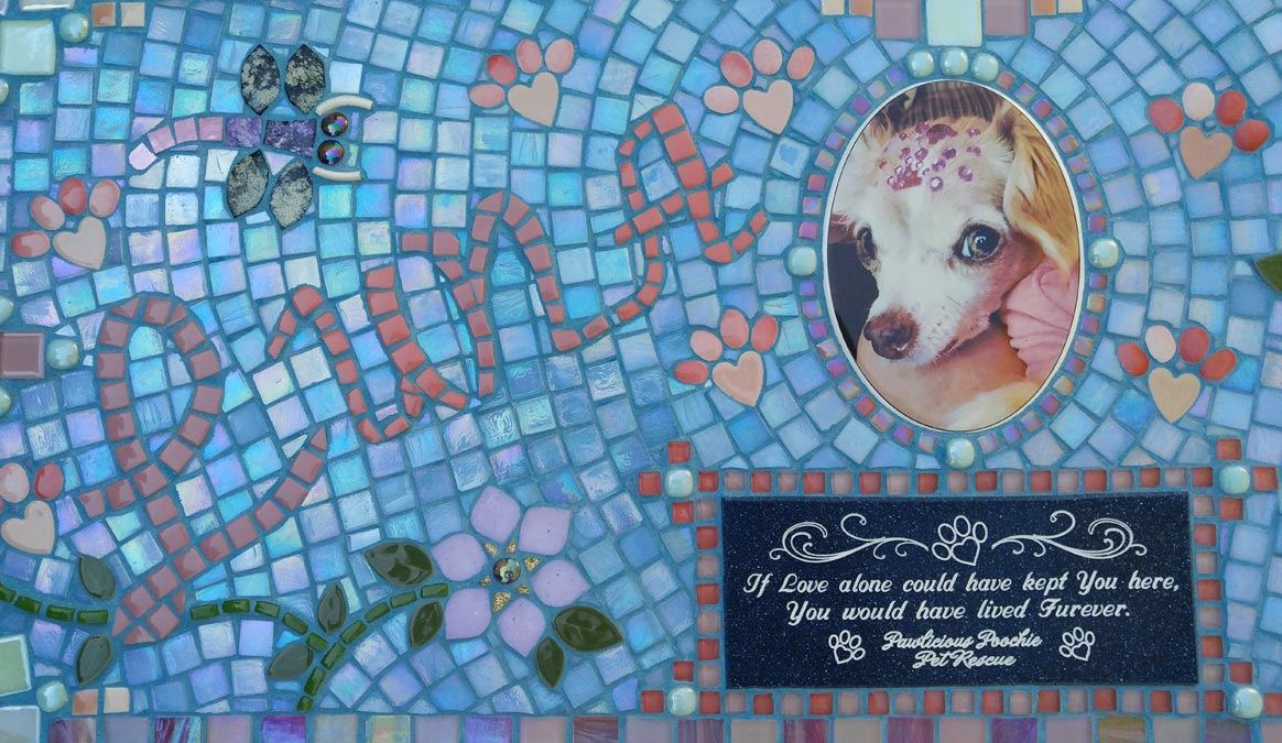 Mosaic Memorial Garden Bench with Portrait Tiles of Luna's Pink Butterfly Closeup by Water's End Studio Artist Linda Solby