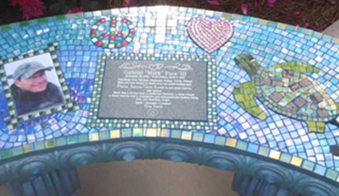 Mosaic Memorial Garden Bench with Portrait Tiles of Mark's Turtle and Symbols Closeup by Water's End Studio Artist Linda Solby