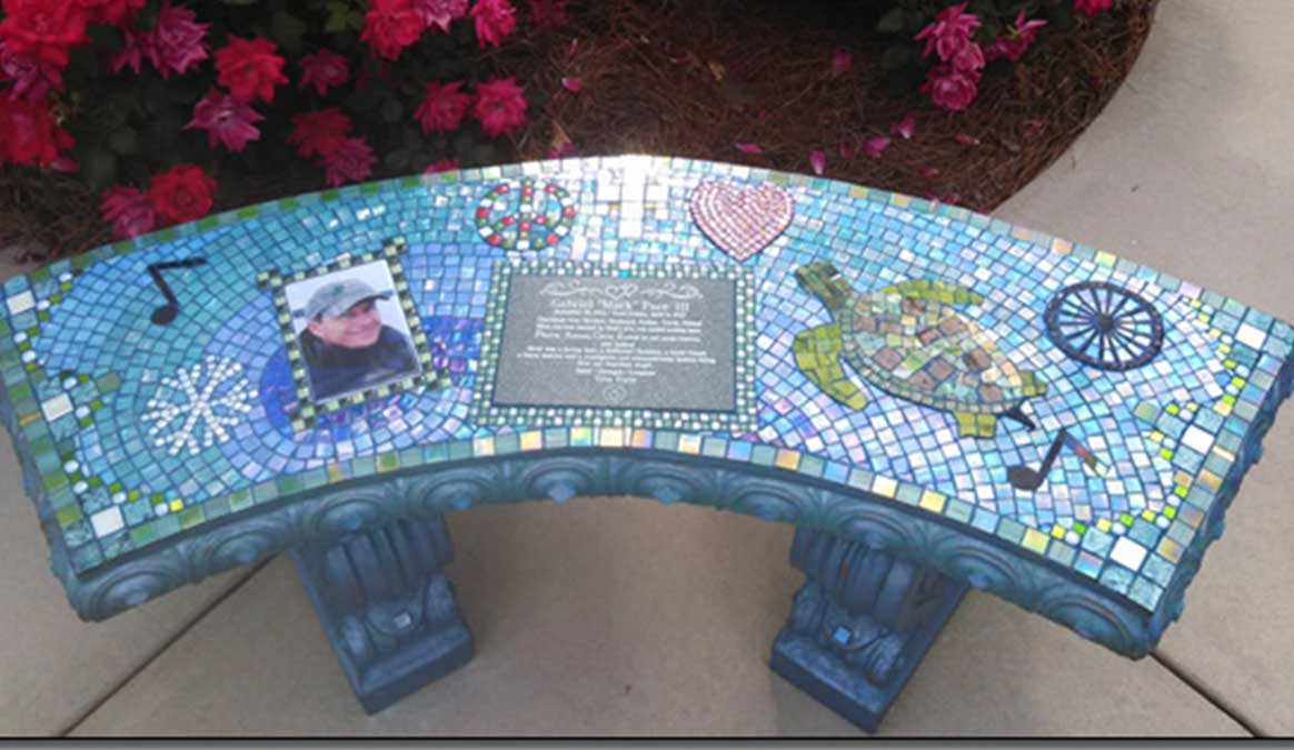Mosaic Memorial Garden Bench with Portrait Tiles of Mark's Turtle and Symbols by Water's End Studio Artist Linda Solby
