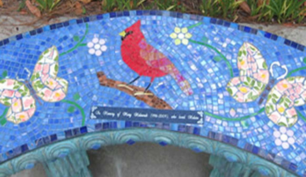 Mosaic Memorial Garden Bench of Mary's Cardinal Closeup by Water's End Studio Artist Linda Solby