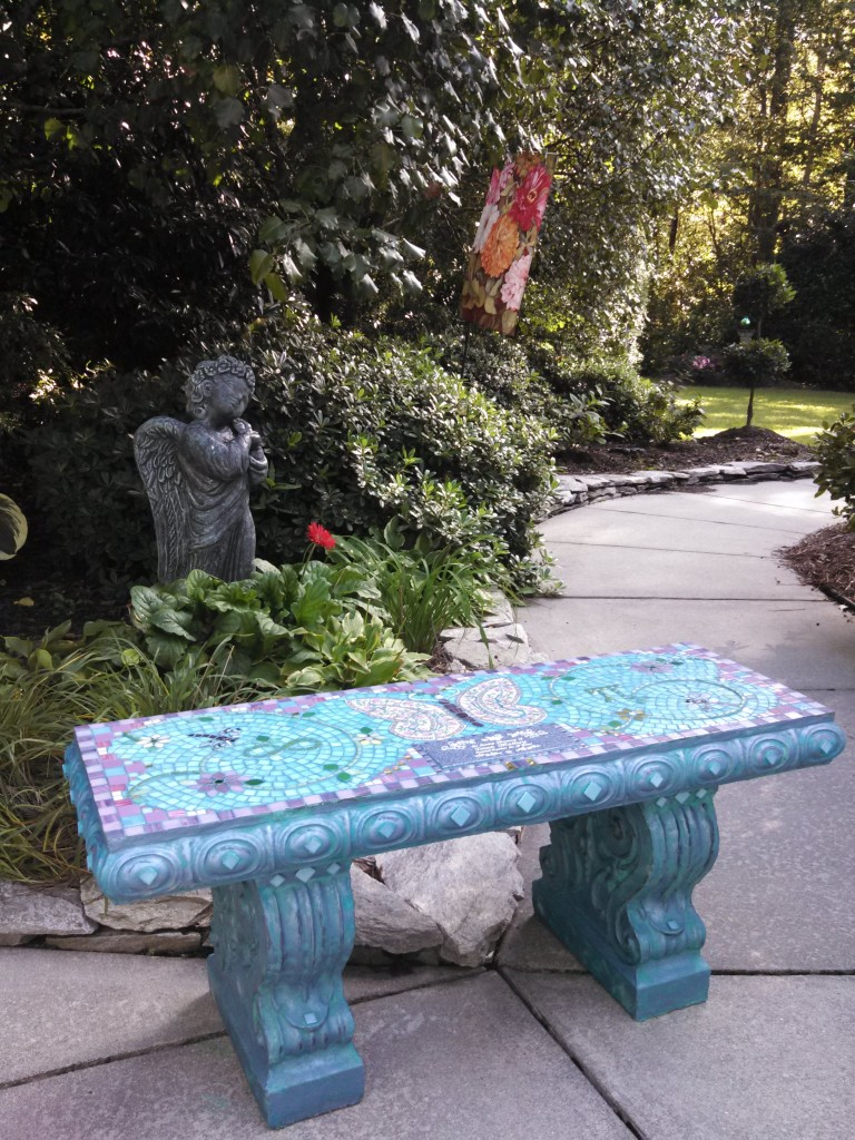 Butterfly Mosaic Memorial Bench by Water's End Studio Artist Linda Solby