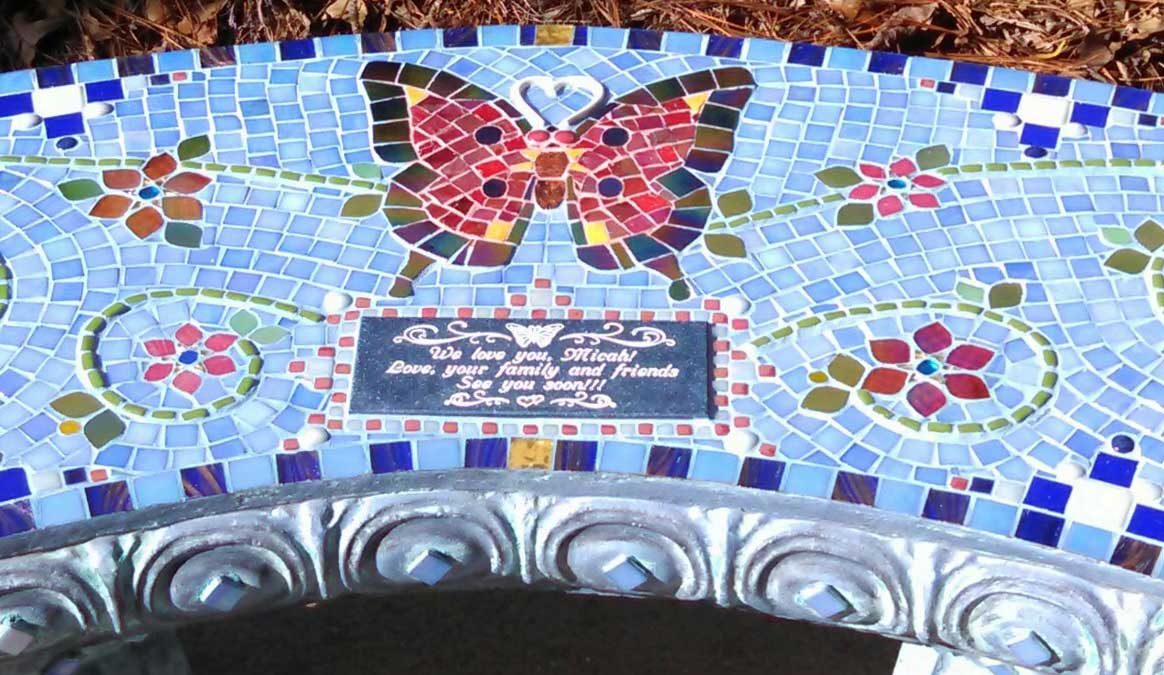 Mosaic Memorial Garden Bench of Micah's Red Butterfly Closeup by Water's End Studio Artist Linda Solby