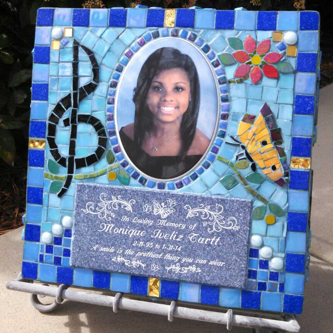 Mosaic Memorial Garden Art Stone of Monique's Treble Clef by Water's End Studio Artist Linda Solby