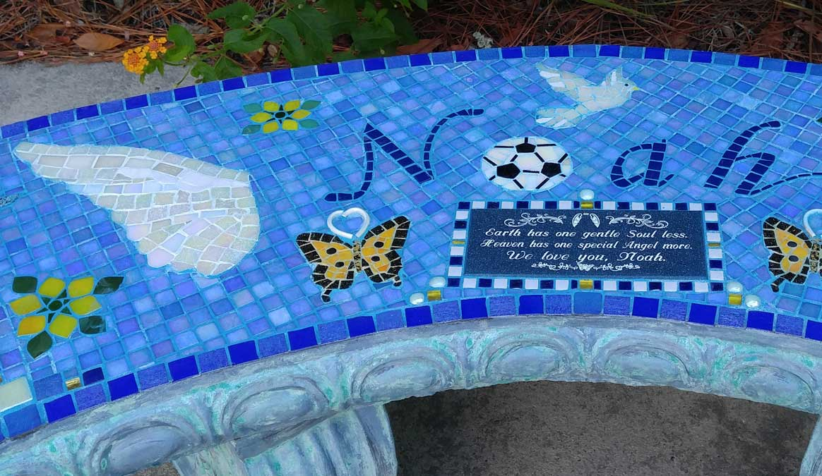 Mosaic Memorial Garden Bench of Noah's Wings Closeup by Water's End Studio Artist Linda Solby