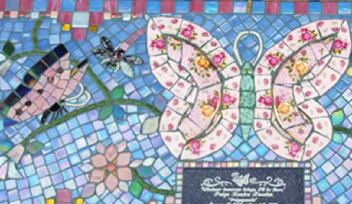 Mosaic Memorial Garden Bench of Paige's Pink Butterflies Closeup by Water's End Studio Artist Linda Solby