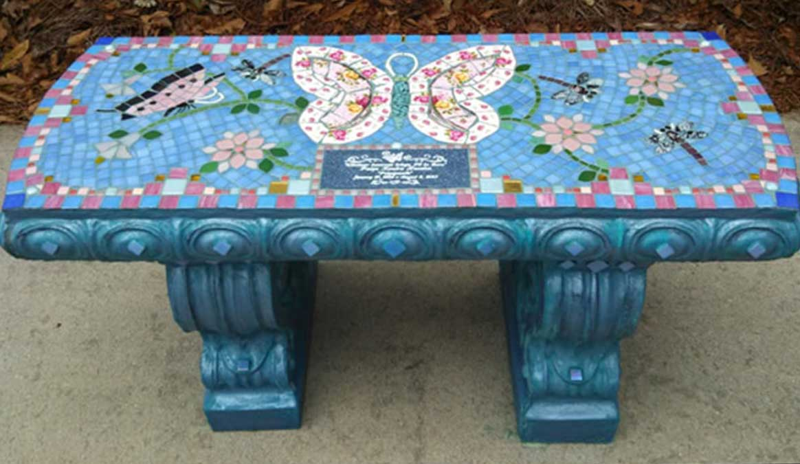 Mosaic Memorial Garden Bench of Paige's Pink Butterflies by Water's End Studio Artist Linda Solby