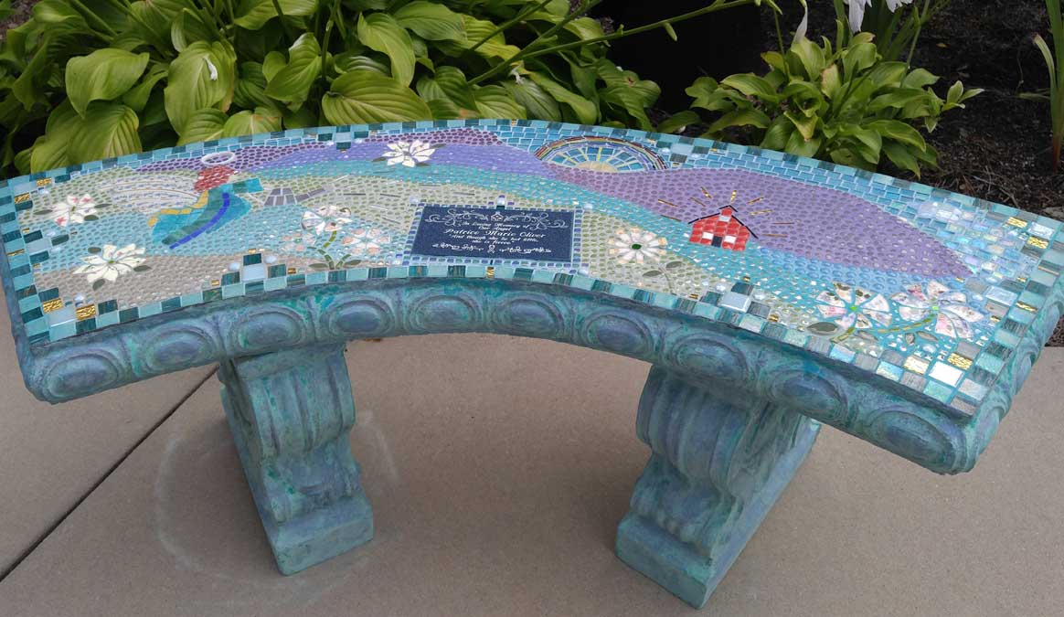 Mosaic Memorial Garden Bench of Patrice's Angel Among Mountains by Water's End Studio Artist Linda Solby