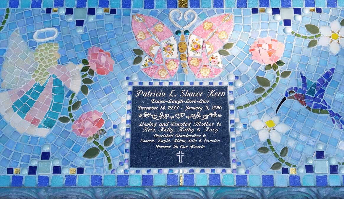 Mosaic Memorial Garden Bench of Patricia's Angel and Butterflies Closeup by Water's End Studio Artist Linda Solby