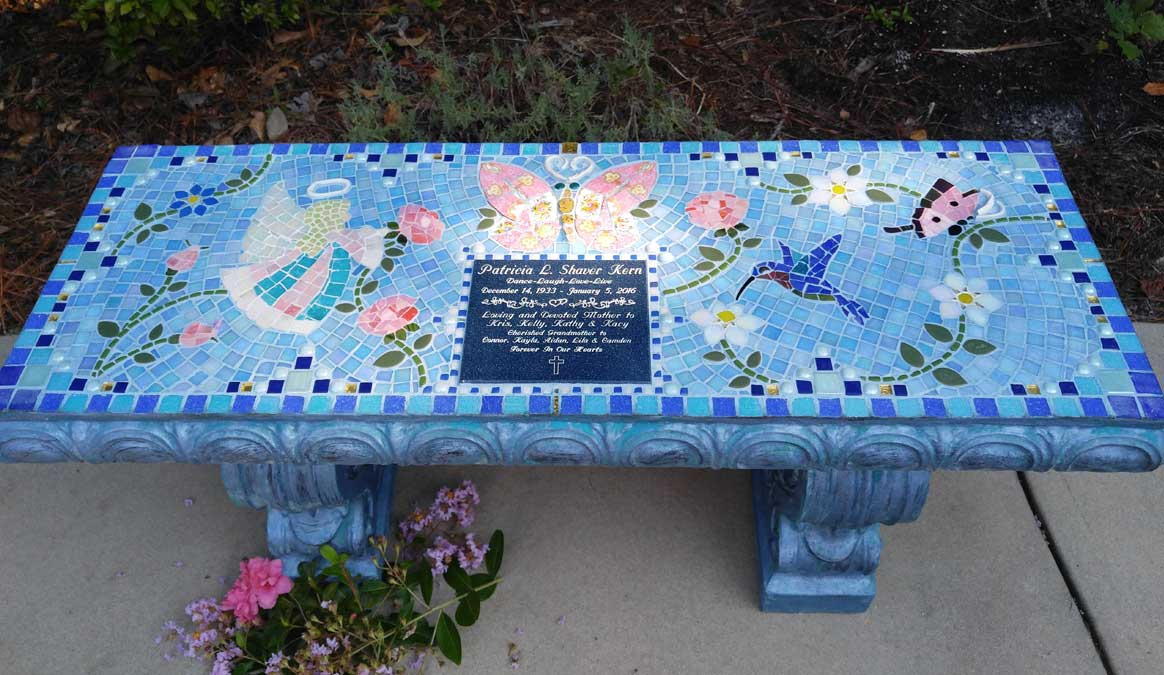 Mosaic Memorial Garden Bench of Patricia's Angel and Butterflies by Water's End Studio Artist Linda Solby