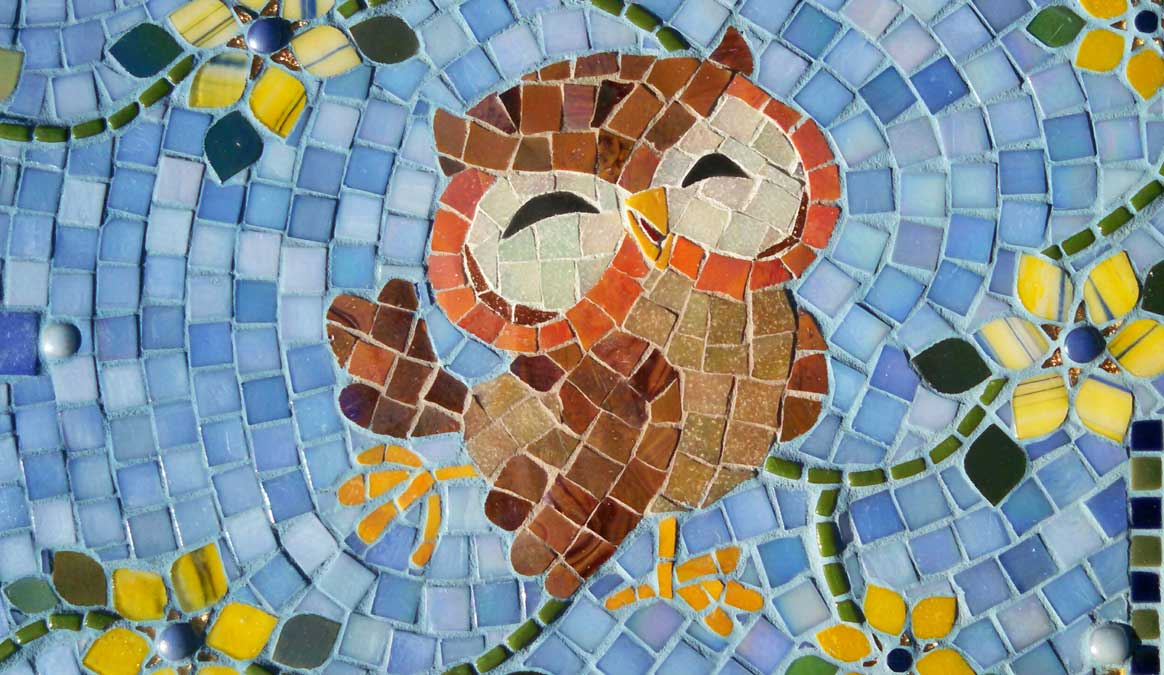 Mosaic Memorial Garden Bench of Paula's Puppets Owl Closeup by Water's End Studio Artist Linda Solby