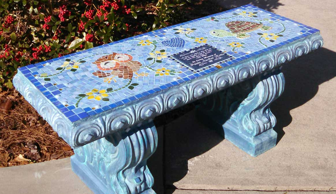 Mosaic Memorial Garden Bench of Paula's Puppets Owl and Turtle by Water's End Studio Artist Linda Solby