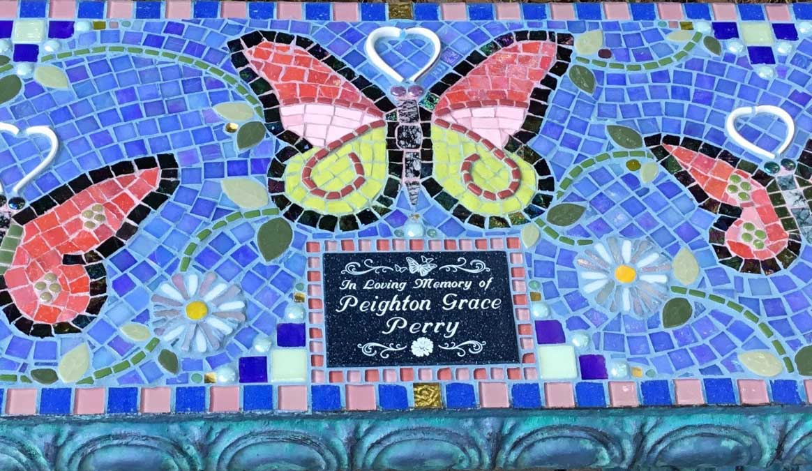 Mosaic Memorial Garden Bench of Peighton's Butterflies Closeup by Water's End Studio Artist Linda Solby