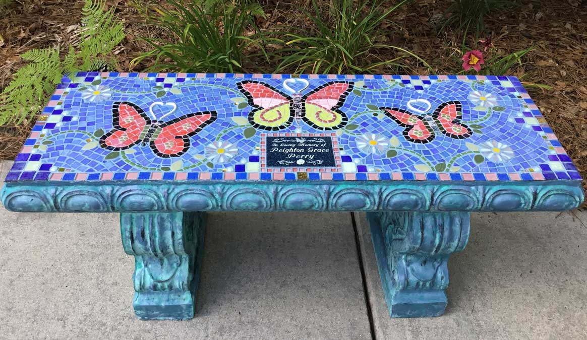 Mosaic Memorial Garden Bench of Peighton's Butterflies by Water's End Studio Artist Linda Solby
