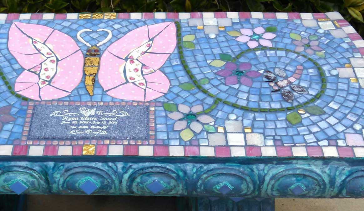 Mosaic Memorial Garden Bench of Ryan Claire's Pink Butterfly Closeup by Water's End Studio Artist Linda Solby
