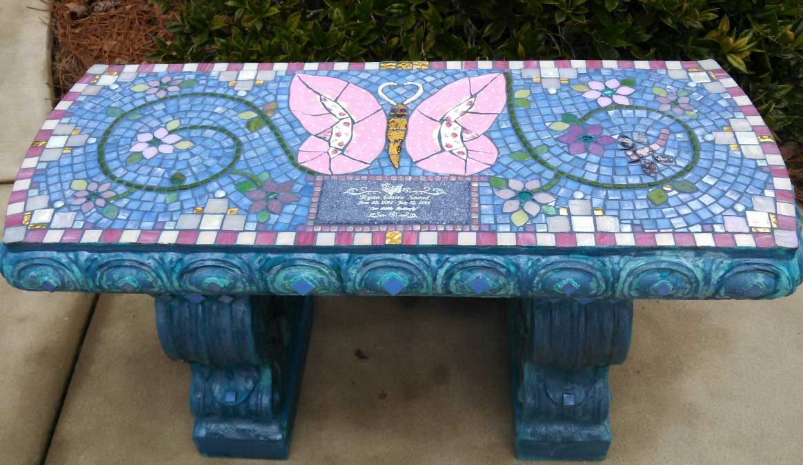 Mosaic Memorial Garden Bench of Ryan Claire's Pink Butterfly by Water's End Studio Artist Linda Solby